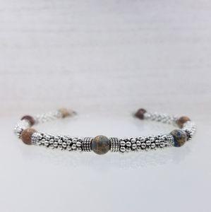 Blue Sea Sediment Jasper Beaded Toggle Bracelet